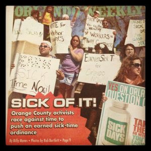 Orlando Weekly cover showing Organize Now pushing for earned sick time